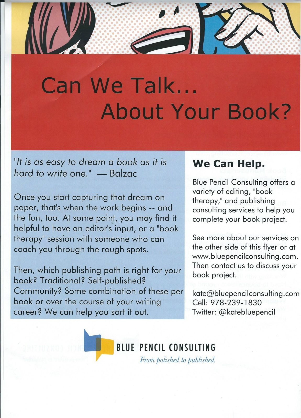 Stop by for a chat about your book project!